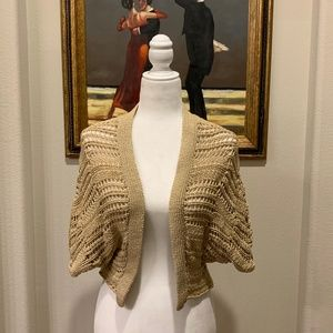 Halogen Cropped Crocheted Open Front Cardigan